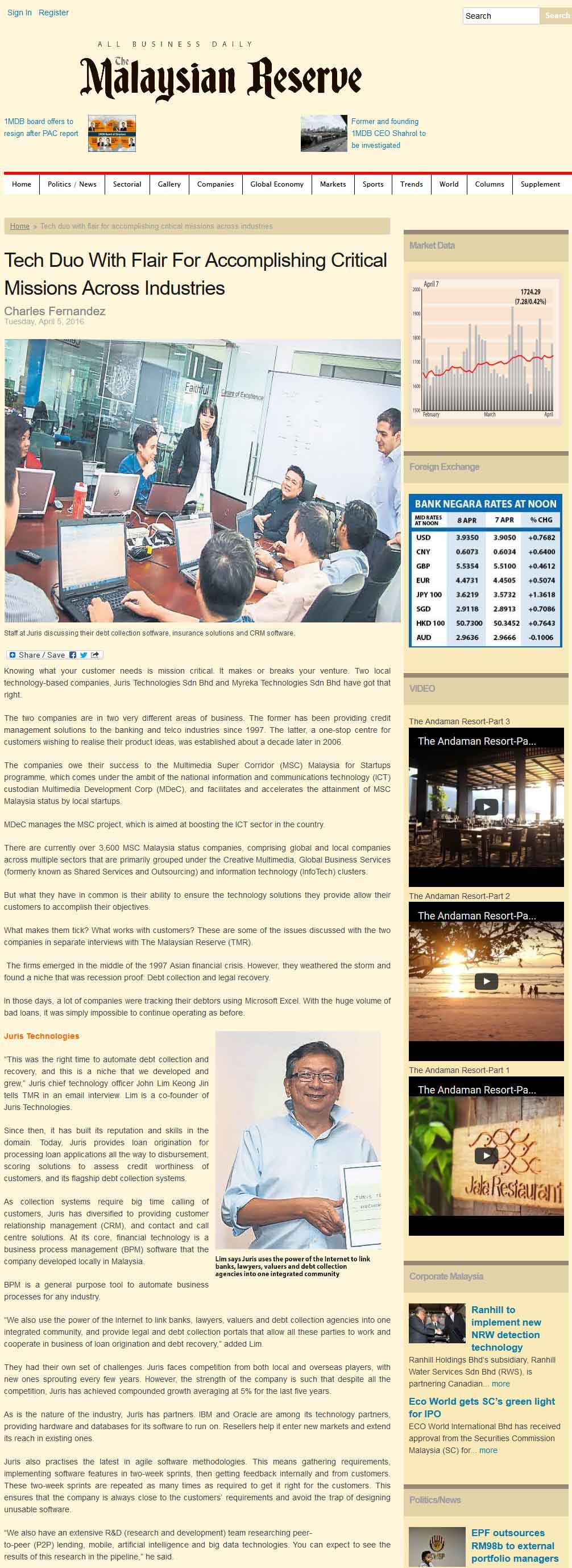 malaysian reserve, juris tehcnologies, juris tech, debt collection, recovery system