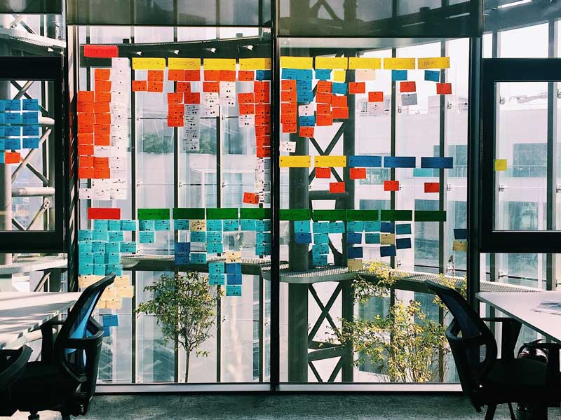 glass window, sticky notes, agile system, agile